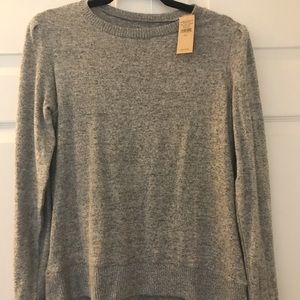 Soft gray puff shoulder sweater